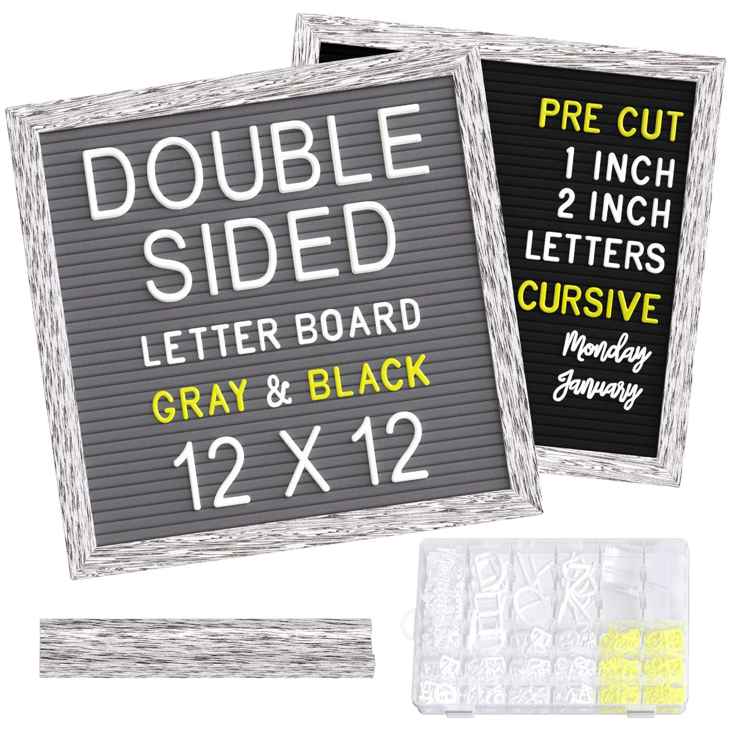 """Double Sided Felt Letter Board 12x12 inch - Black & Gray Felt with 1"""", 2"""" White & Yellow Pre-Cut Letters in Storage Box - for Baby Milestone Announcement, Monthly Memo, Word & Message Boards"""