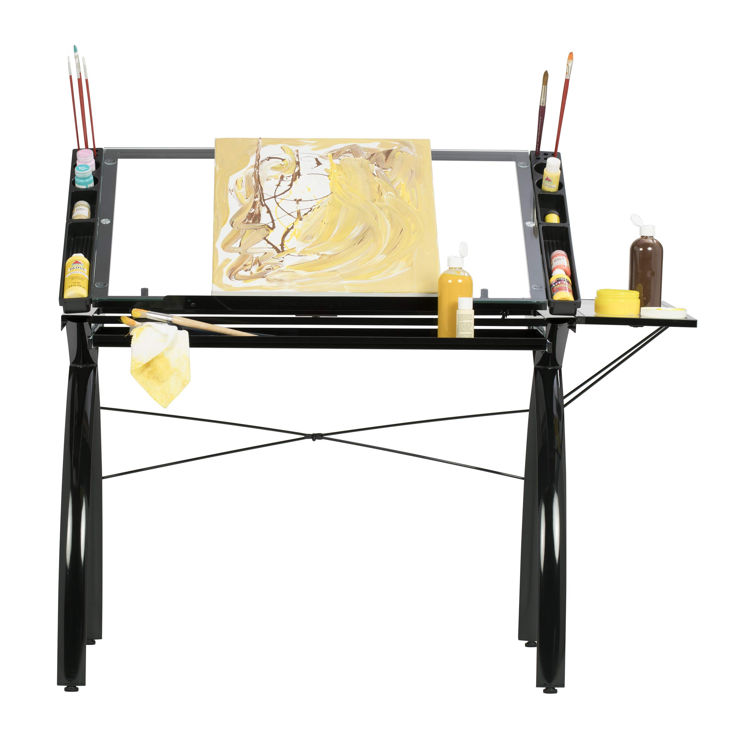 SD Studio Designs 10097 Futura Station with Folding Shelf Top Adjustable Drafting Craft Drawing Hobby Table Writing Studio Desk with Drawer, 35.5'' W x 23.75'' D, Black/Clear Glass