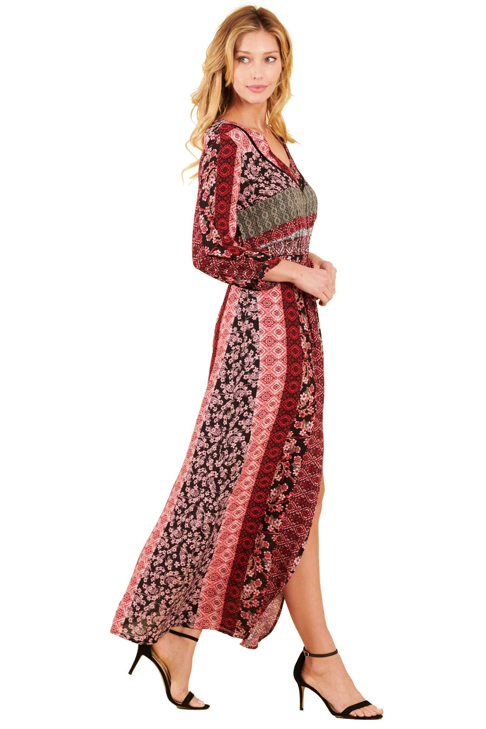Truly Me, Women's 3/4 SLV V-Neck Split Skirt Dress W/Neck Trim (Burgundy Black, XL)