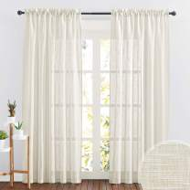 RYB HOME Linen Textured Sheer Curtains 84 inches Long, Privacy Semi-Transparent Sheer Window Curtains for Living Room Bathroom French Door, Warm Beige, W 70 x L 84 inch, 1 Pair