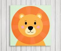 "Cute Little Animals, Nursery Canvas Print Wall Decor, Baby Kid Room Canvas Art Print, Safari Animals Poster Wall Art Print, Great Baby Shower Gift Set Idea - Ready to Hang (11""W x 11""H, Lion)"