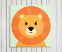 "Cute Little Animals, Nursery Canvas Print Wall Decor, Baby Kid Room Canvas Art Print, Safari Animals Poster Wall Art Print, Great Baby Shower Gift Set Idea - Ready to Hang (11""W x 11""H, Lion)"