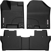 oEdRo Floor Mats Compatible for 2016-2020 Honda Pilot, Unique Black TPE All-Weather Guard Includes 1st and 2nd Row: Front, Rear, Full Set Liners