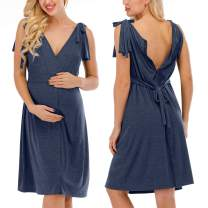 MEROKEETY Women's Wrap Maternity Dress V Neck Ruched 3 in 1 Labor Delivery Nursing Hospital Gown