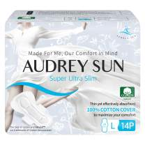 AUDREY SUN - Natural Cotton Pads for Women - Ultra Slim - 100% Chemical Free Cotton Pads for Women - Natural Pads for Women with Wings - Large - 14 Count Total (Packaging May Vary)