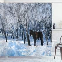 """Ambesonne Animal Shower Curtain, Horse Between Trees in The Winter Forest Frozen Woods ICY Land Nature Picture, Cloth Fabric Bathroom Decor Set with Hooks, 75"""" Long, White Brown"""