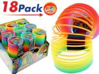 JA-RU Big Spring Rainbow Ring Magic Set (18 Units in Display Box) Stress Toy Slinkey Original Toys for Kids Girls and Boys Springs Great Party Favor | Plus 1 Bouncy Ball Item #1702-18p