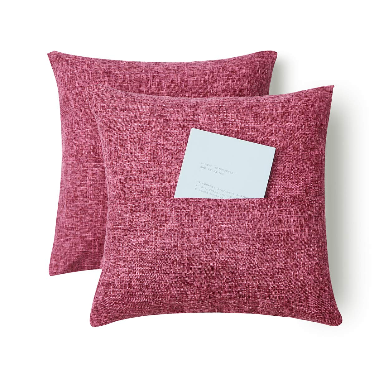 Set of 2 Multifunctional Throw Pillow Covers with Pocket, Decorative Square Pillow Case, Slipover Pillowslip for Home Sofa Couch Chair Back Seat Bedroom Car, Invisible Zipper, 18 x 18 Inch-Rose Red