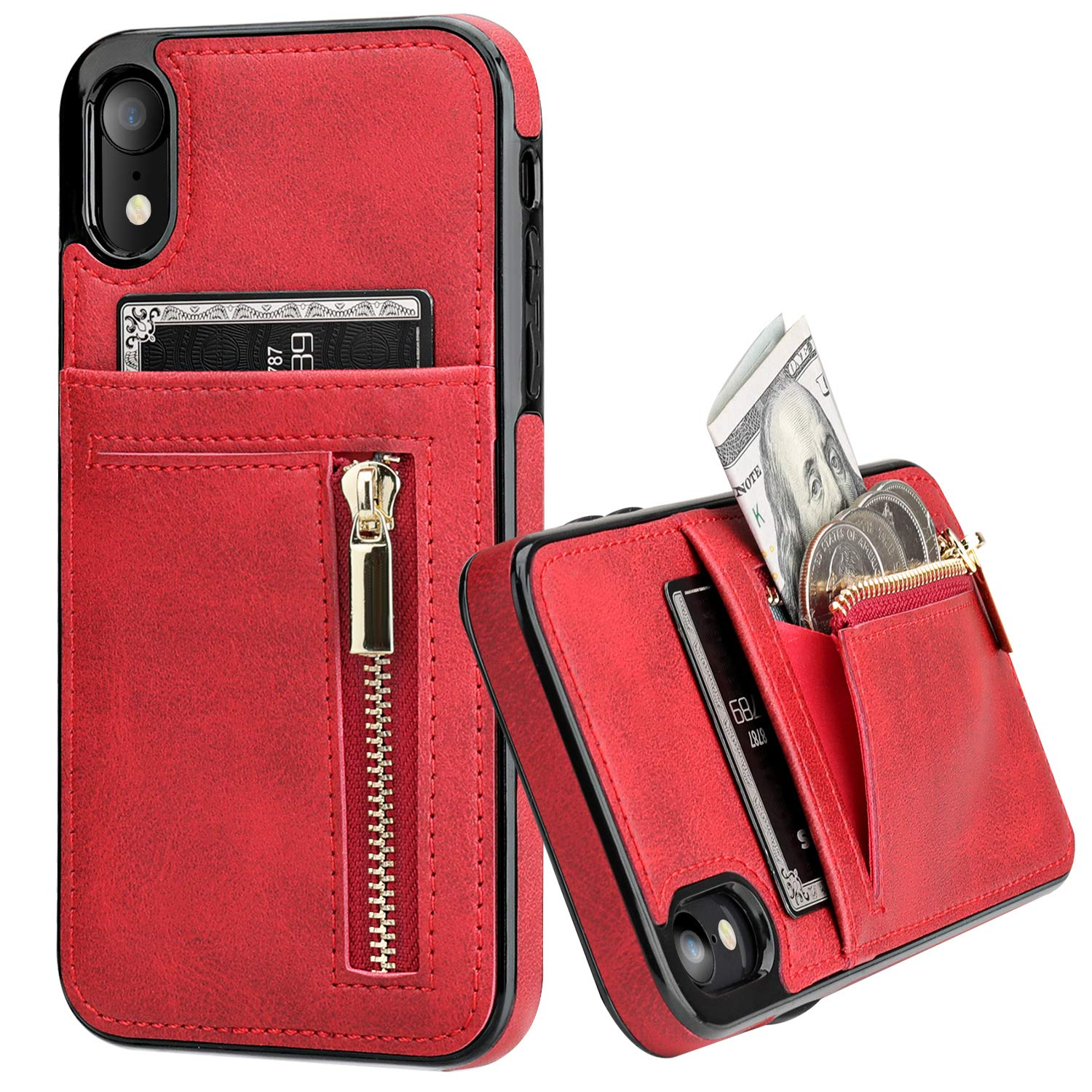 KIHUWEY iPhone Xr Case Wallet with Card Holder, iPhone Xr Case Slim Zipper Purse Wallet Case Leather Shockproof Protective Cover for iPhone Xr 6.1 Inch (Red)