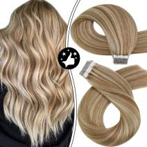 Moresoo Tape Hair Extensions Human Hair 16 Inch Invisible Tape in Hair Extensions Highlighted Color #6 Medium Brown with #60 Platinum Blonde Tape in Natural Hair Extensions Soft
