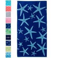 "Great Bay Home OversizedPlush Star Fish PrintBeach Towel. 100% CottonNauticalBeach Towel, Large Pool Towel.Maui Collection(40""x70"")"