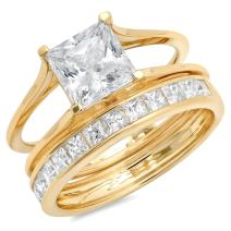 Clara Pucci 3.20 CT Princess Cut CZ Pave Halo Classic Designer Solitaire Ring Band Set 14k Yellow Gold