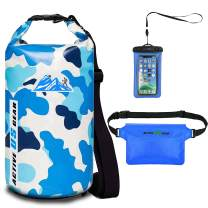 Premium Waterproof Dry Bag with Phone Pouch and Waist Bag 5L/10L/ 20L/30L,Travel Gear for Kayaking, Swimming,Rafting, Boating, Beach, Camping,Fishing, Hiking, Snorkelling