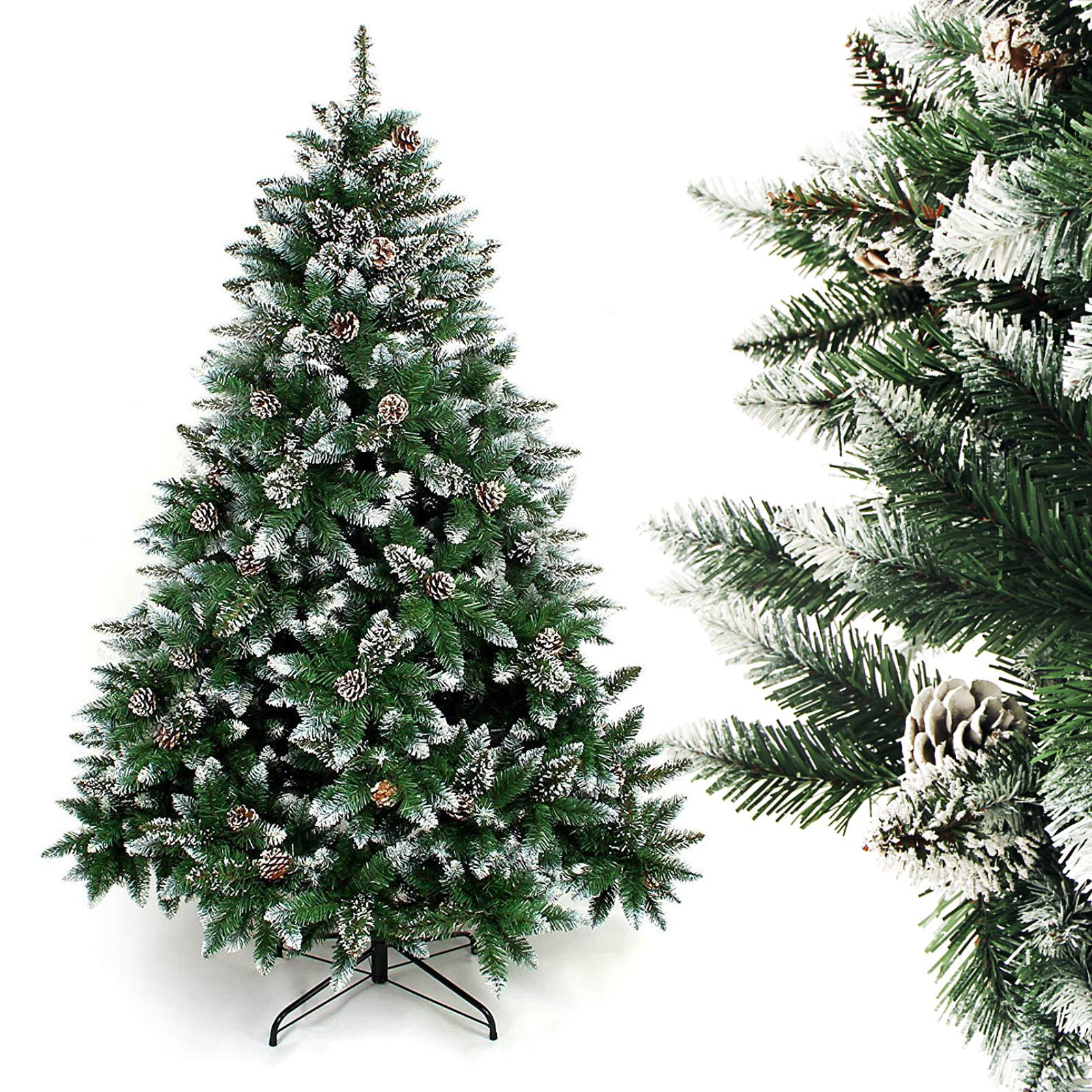 Homde Artificial Christmas Tree with Flocked Snow Pine Cone (6ft)