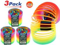 JA-RU Big Spring Rainbow Ring Magic Set (3 Units) Stress Toy Slinkey Original Toys for Kids Girls and Boys Springs Great Party Favor | Plus 1 Bouncy Ball Item #1702-3p