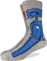 Good Luck Sock Men's Rock 'em Sock 'em Robots Crew Socks - Grey, Shoe Size 7-12