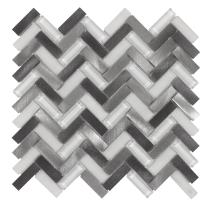 MTO0019 | Modern Herringbone Grey White Metallic Glossy Frosted Metallic Glass Metal Tile