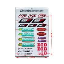 Kungfu Graphics Micro Sponsor Logo Racing Sticker Sheet Universal (7.2X 10.2 inch), White, MSS (19)