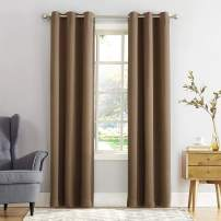 "Sun Zero Easton Blackout Energy Efficient Grommet Curtain Panel, 40"" x 95"", Barley Brown"