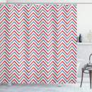 "Ambesonne Retro Shower Curtain, Zig Zag Chevron Style Geometric Pattern Design in Pastel Colors Print, Cloth Fabric Bathroom Decor Set with Hooks, 84"" Long Extra, Pale Blue"