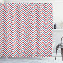 "Ambesonne Retro Shower Curtain, Zig Zag Chevron Style Geometric Pattern Design in Pastel Colors Print, Cloth Fabric Bathroom Decor Set with Hooks, 70"" Long, Pale Blue"