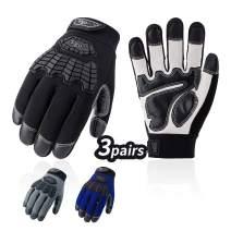 Vgo 3Pairs Men's Medium Duty Goat Leather Work Gloves,Touchscreen Compatible, Velcro Closure (Size L, Black&Blue&Grey, GA9700)