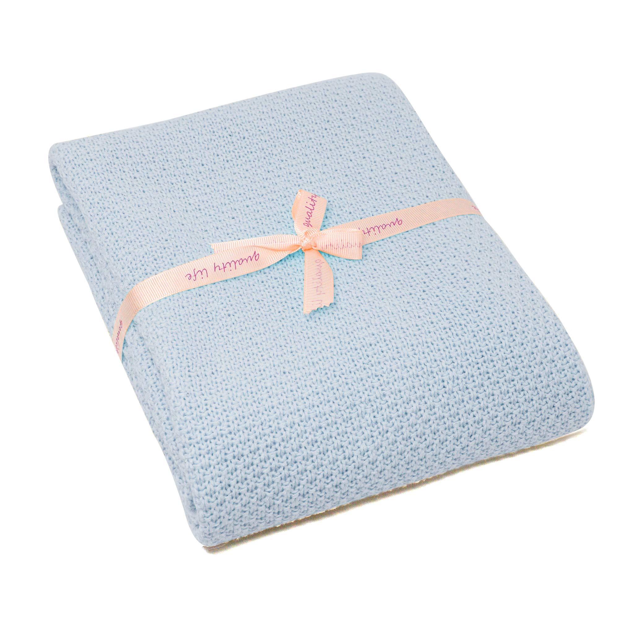 Spring Fever Baby Cozy Newborn Nursery All Season Organic Cotton Knit Bed Stroller Cover Throw Blanket Blue