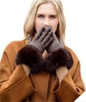 YISEVEN Women's Touchscreen Lambskin Leather Gloves Fur Cuff
