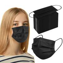 Black Disposable Face Masks Medical Grade With Metal Nose Wire Breathable Safety Mask for Women Men Adults Kids