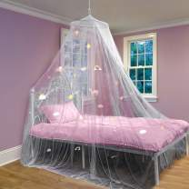 Bed Canopy with Glow in The Dark Unicorns, Stars and Rainbows for Girls, Kids & Babies, Anti Mosquito Net Use to Cover The Baby Crib, Kid Bed, Girls Bed Or Full Size Bed, Fire Retardant Fabric, White