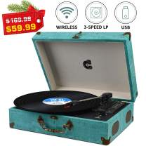 Record Player with Speakers Turntable Wireless Portable LP Phonograph with Built in Stereo Speakers Suitcase Design Turntable USB SD 3-Speed Belt-Drive Vinyl Record Player