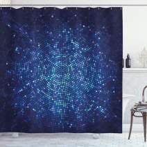 "Ambesonne Blue Shower Curtain, Digital Geometric Mosaic Perspective Depth Pixel Artwork Graphic Design, Cloth Fabric Bathroom Decor Set with Hooks, 75"" Long, Blue Navy"