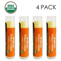 USDA Organic Lip Balm by Sky Organics - 4 Pack Citrus Lip Balms With Beeswax, Coconut Oil, Vitamin E. Best Lip Plumper Chapstick for Dry Lips- Adults & Kids Lip Repair Made In USA (Tangy Citrus)