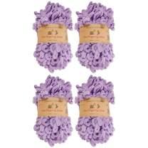 BambooMN Finger Knitting Yarn - Fun Finger Loops Yarn - 100% Polyester - Purple - 4 Skeins