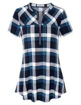 Liamluna Women's Henley V Neck Zip Up Plaid Tunic Shirt
