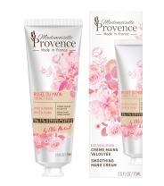 Mademoiselle Provence Natural Shea Butter Organic Rose Hand Cream with Peony Extracts, Moisturizing and Smoothing French Hand Lotion, Hydrating Vegan Hand Care, Cruelty Free 2.5 fl oz
