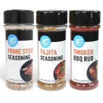 Amazon Brand - Happy Belly Grilling Spices Set: Prime Steak Seasoning, Fajita Seasoning, Smoked BBQ Rub Seasoning