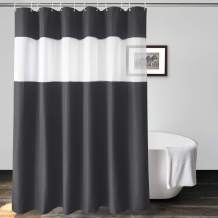 UFRIDAY Classic Waffle Weave Charcoal Grey Fabric Shower Curtains with Clear Mesh Window 72 x 72 inch , Durable Polyester Solid Charcoal Shower Curtain for Men and Boys
