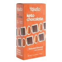 Kiss My Keto Chocolate — Low Carb 100% Sugar Free Chocolate Bars | Roasted Almond, 4 Bars | Keto Dark Chocolate | No Soluble Corn Fiber, Stevia Sweetened, Infused with MCT Oils