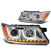 DNA Motoring HL-JOURNER09-Y-CK Pair of LED DRL+Turn Signal Projector Headlight [For 09-17 Dodge Journey]