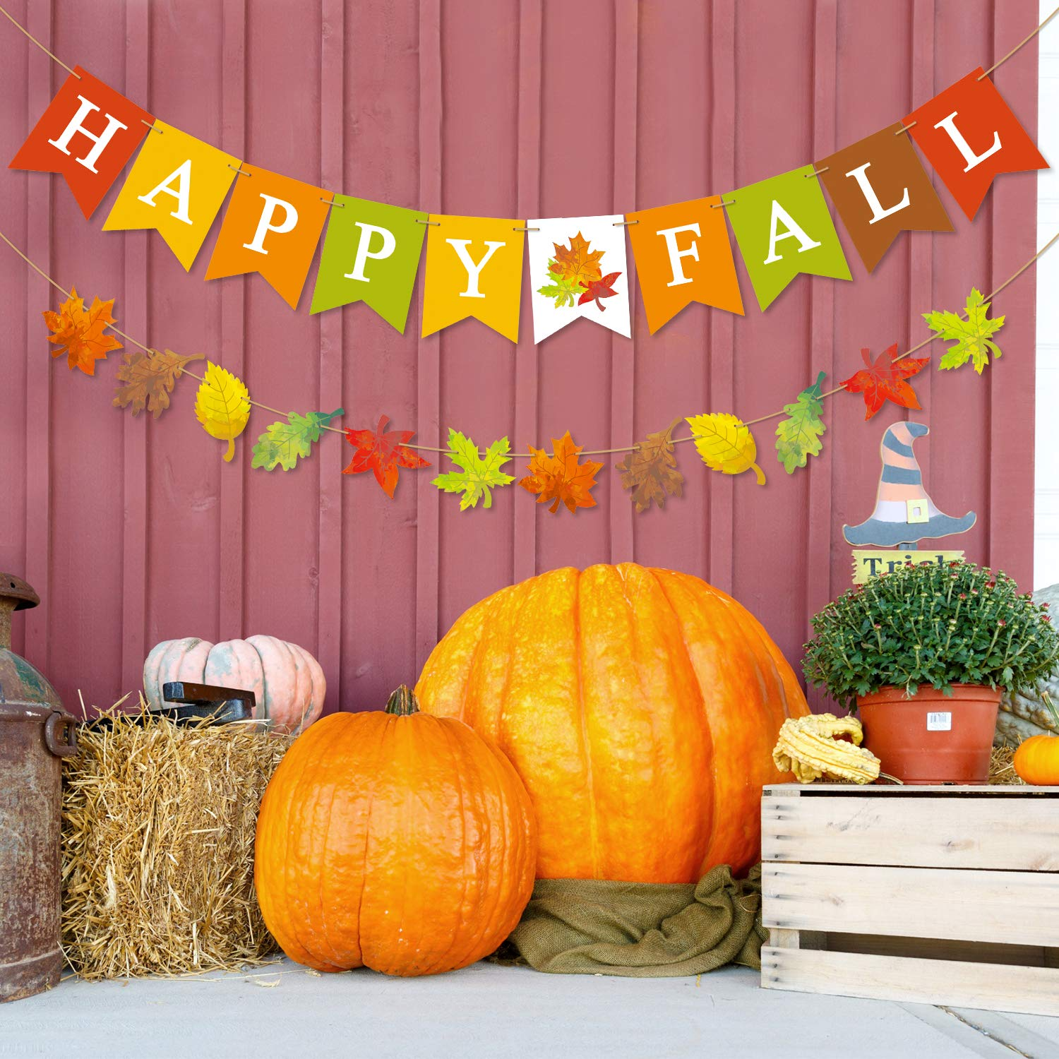 Yaaaaasss! Happy Fall Banner Maple Leaves Garland Seasonal Festive Home Decoration for Mantle Halloween Thanksgiving Day Bunting Sign Fall Party Supplies