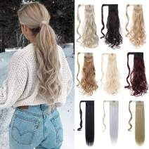 """XBwig Ponytail Hair Extension 18"""" 23"""" Clip In Straight Curly Drawstring Hairpiece Synthetic Wrap Around Hair Piece For Women 90G(23"""" Baby Blonde)"""