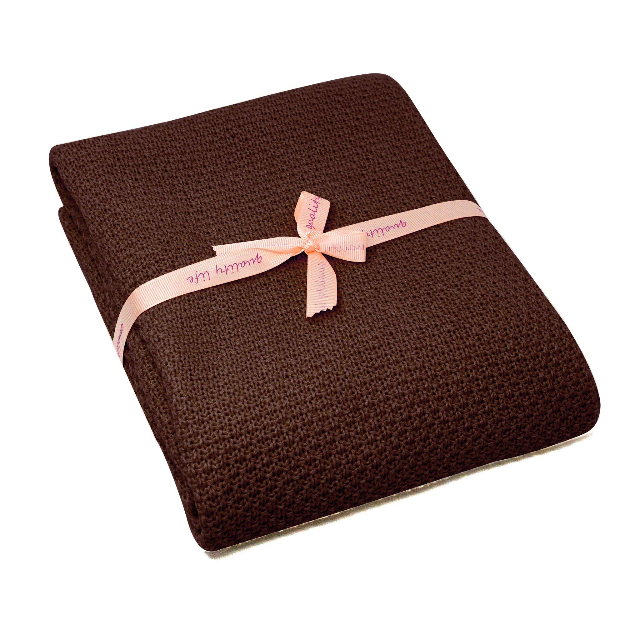 Spring Fever Baby Cozy Newborn Nursery All Season Organic Cotton Knit Bed Stroller Cover Throw Blanket Coffee