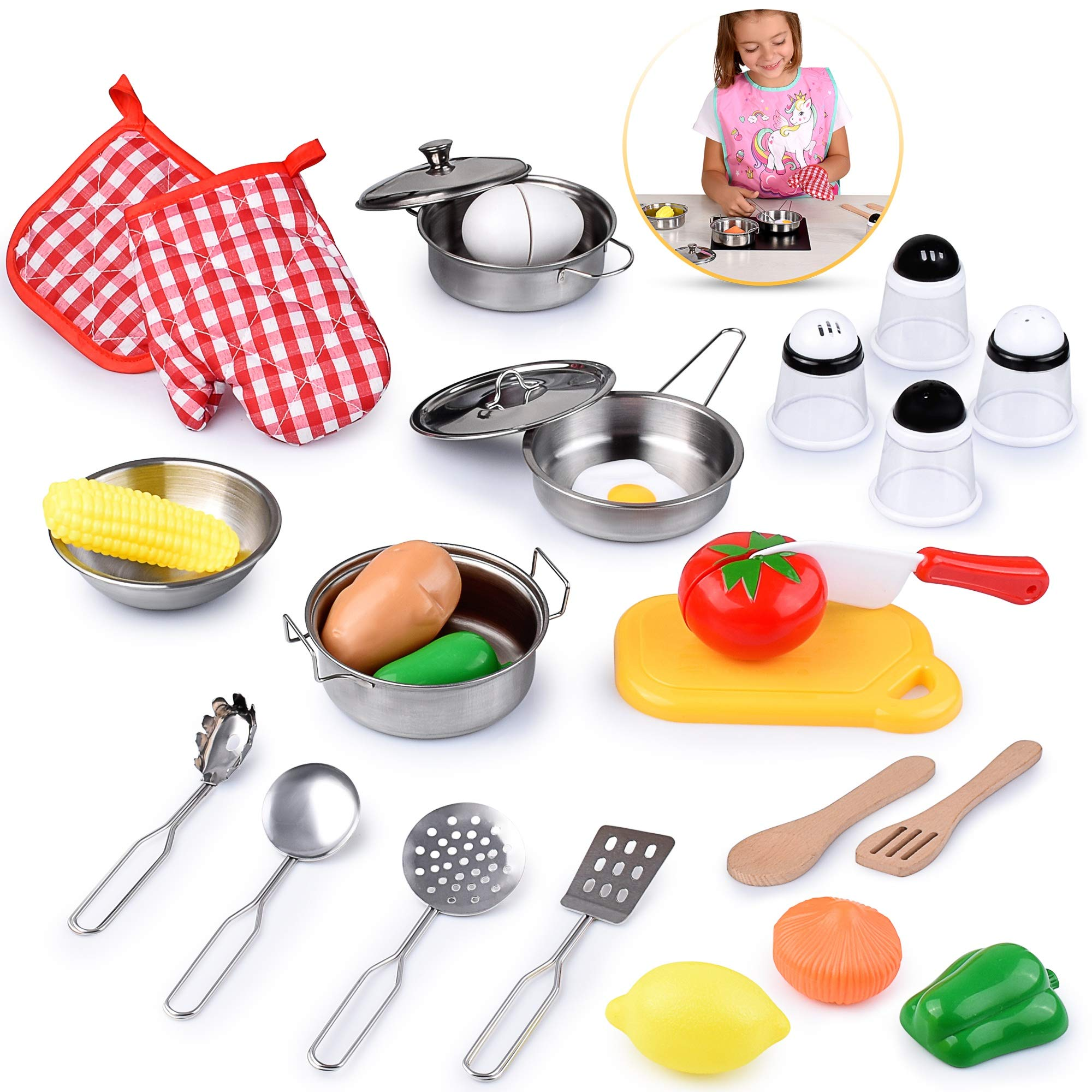 Kids Kitchen Toy Playset, Educational Kitchen set Accessories for Girls and Boys, Pretend Play Cooking Toys for Toddlers, with Stainless Steel Cookware Pots and Pans Set, Food and Vegitables