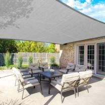 FLY HAWK SunShadeSailRectangle, 10' x 14' Patio Sunshade Cover Canopy - Durable FabricCloth for Outdoor Garden Yard Pond Pergola Sandbox Deck Courtyard - Sand Color (10' x 14' Gray)