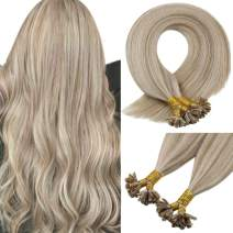 Sunny U Tip Remy Mixed Blonde Hair Extensions Fusion Human Hair- 18inch 1G/S 50G Pre Pack Silky Straight Fusion Tip Hair Extensions