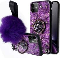 Aulzaju Cover for iPhone 11 6.1 Inch, iPhone 11 Luxury Shiny Cute Case with Ring Stand iPhone 11 Hard Back Raised Edge Marble Hybrid Cover with Soft Furry Ball Strap for Girl Women-Purple