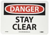 """NMC D105A OSHA Sign, Legend """"DANGER - STAY CLEAR"""", 10"""" Length x 7"""" Height, Aluminum, Black/Red on White"""