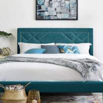 Modway Reese Upholstered Nailhead Linen Fabric Full / Queen Headboard Size in Teal