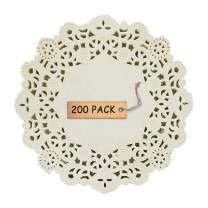 """SCHOLMART Floral White Paper Disposable Doilies Tea Party Birthday Baking Embossed Pattern Round Rectangle Oval 4.5"""", 6.5"""", 8"""", 10.5"""" 200 Pieces (Round, 5.5 Inches)"""